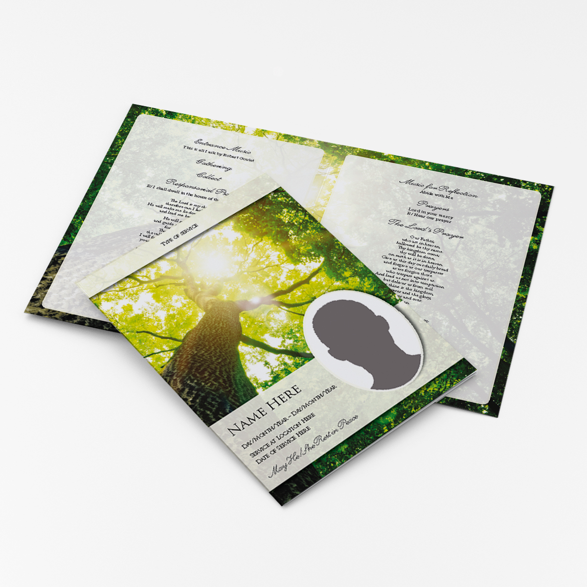 trees funeral cards and personalised stationery